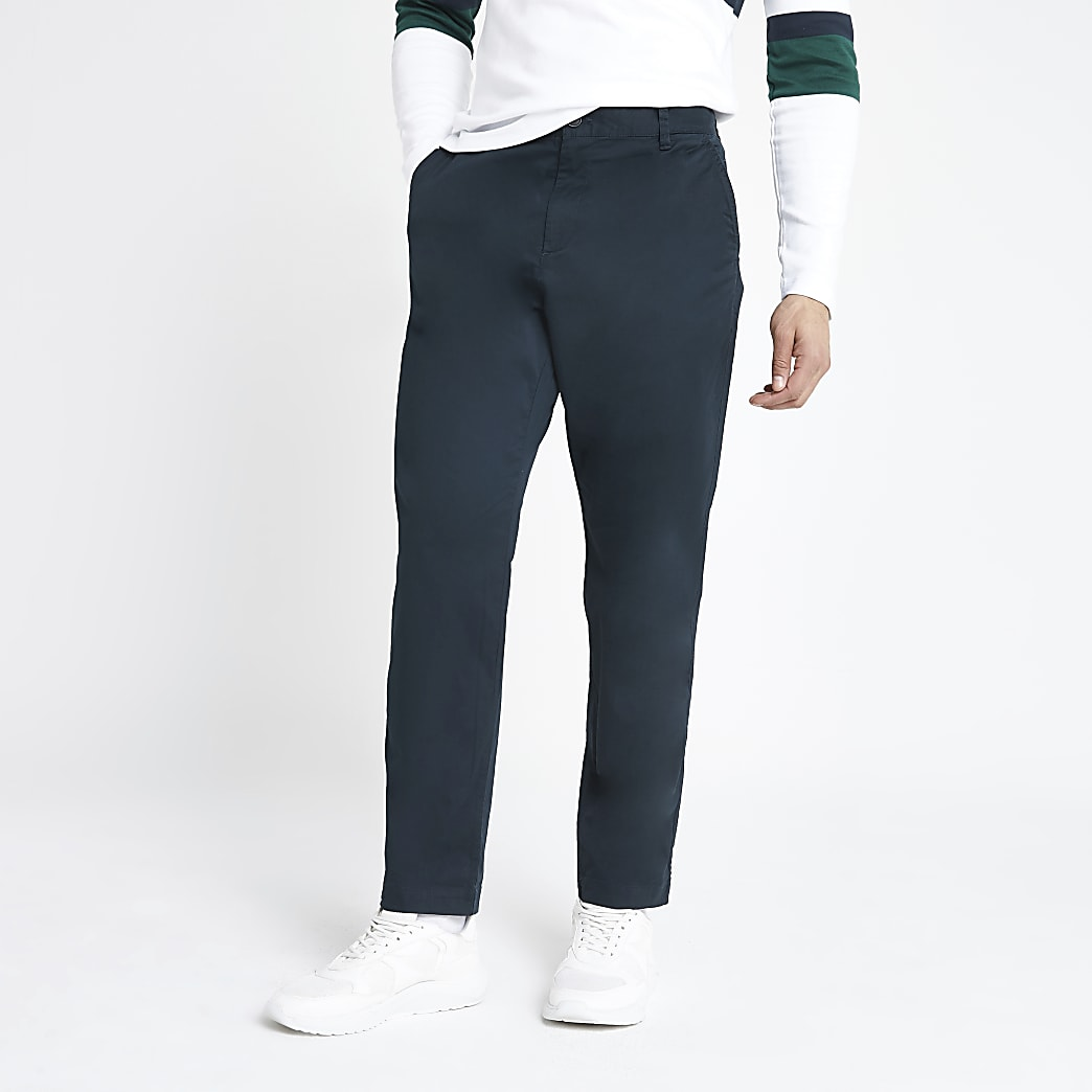 Selected Homme - Marineblauwe smaltoelopende broek