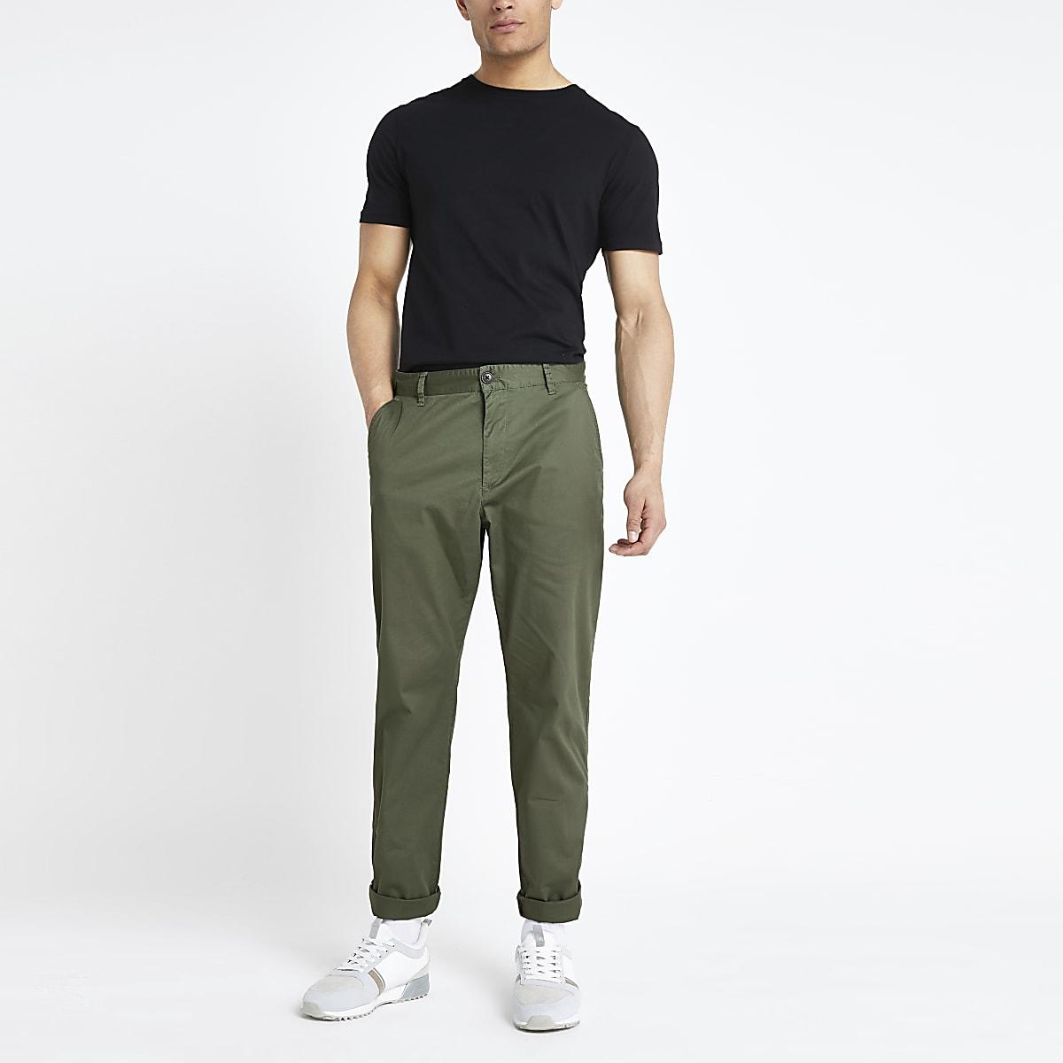 Selected Homme - Kaki smaltoelopende broek