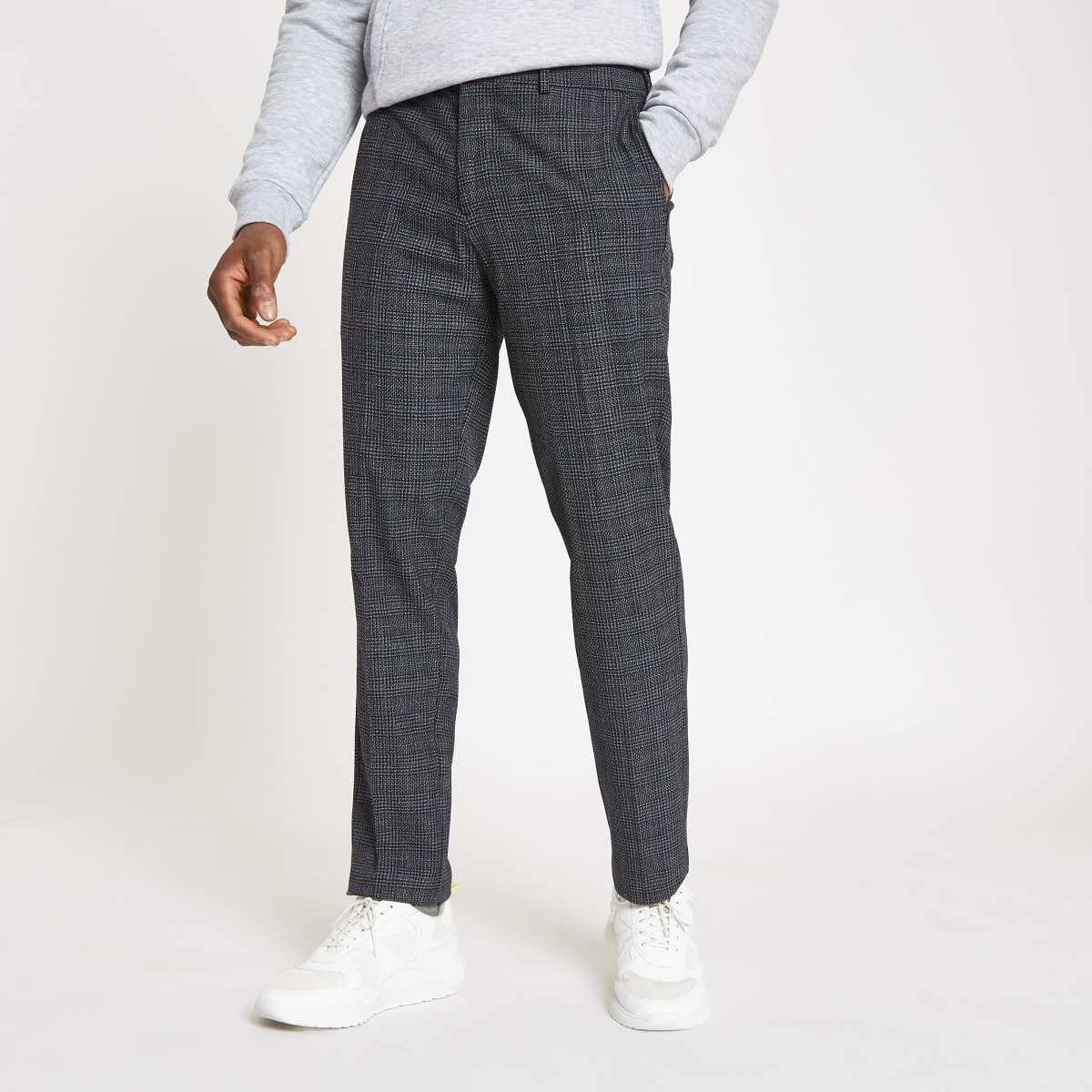 Selected Homme grey check tapered trousers