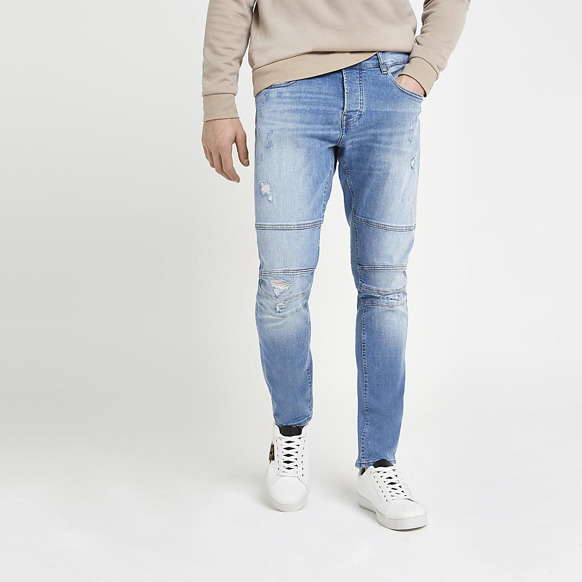 Only & Sons blue slim tapered biker jeans