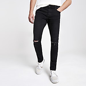 Only & Sons – Schwarze Slim Fit Jeans im Used-Look
