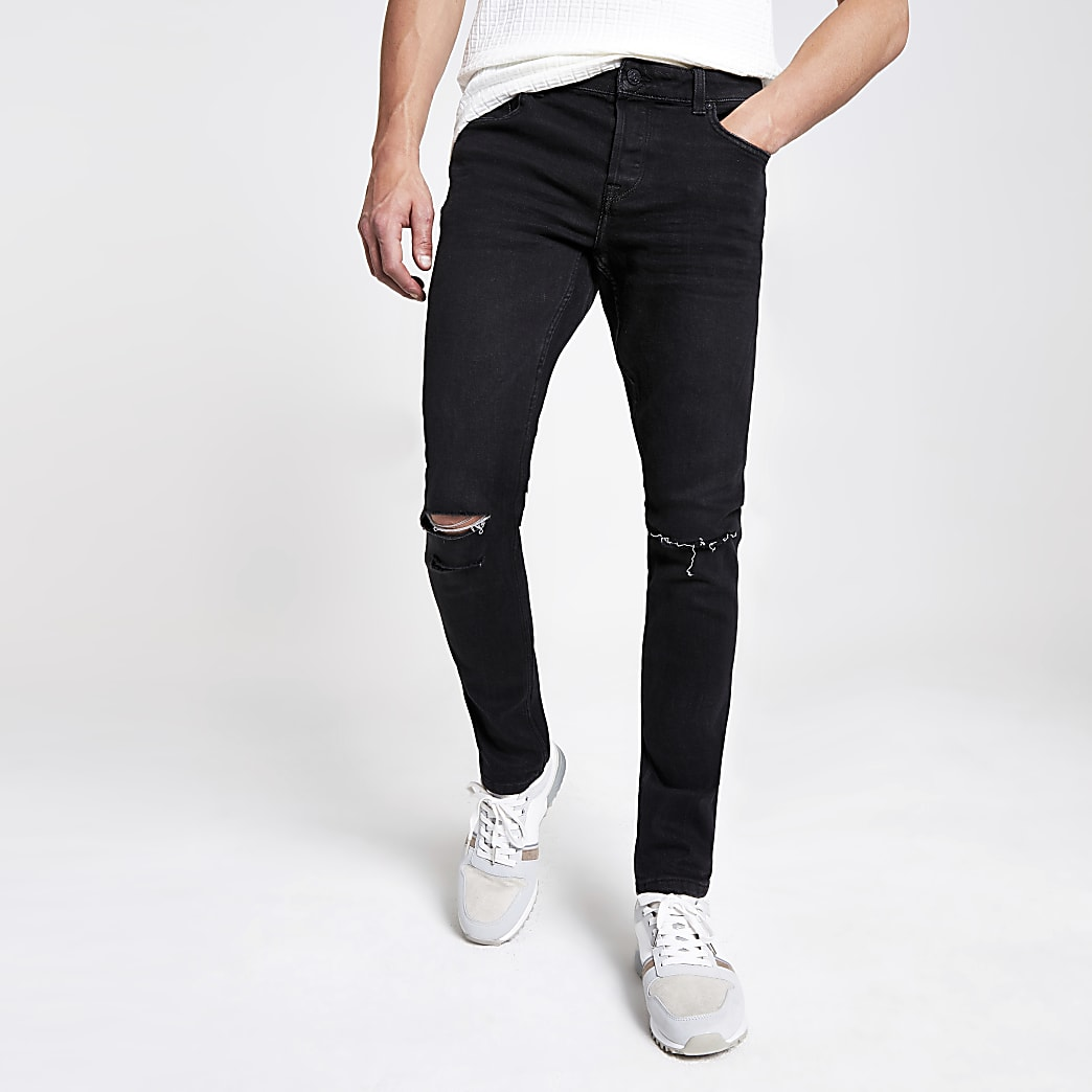 Only & Sons black slim fit ripped jeans
