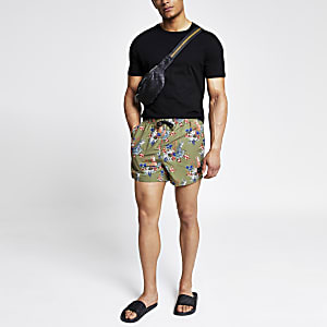 Only & Sons green tropical print swim shorts