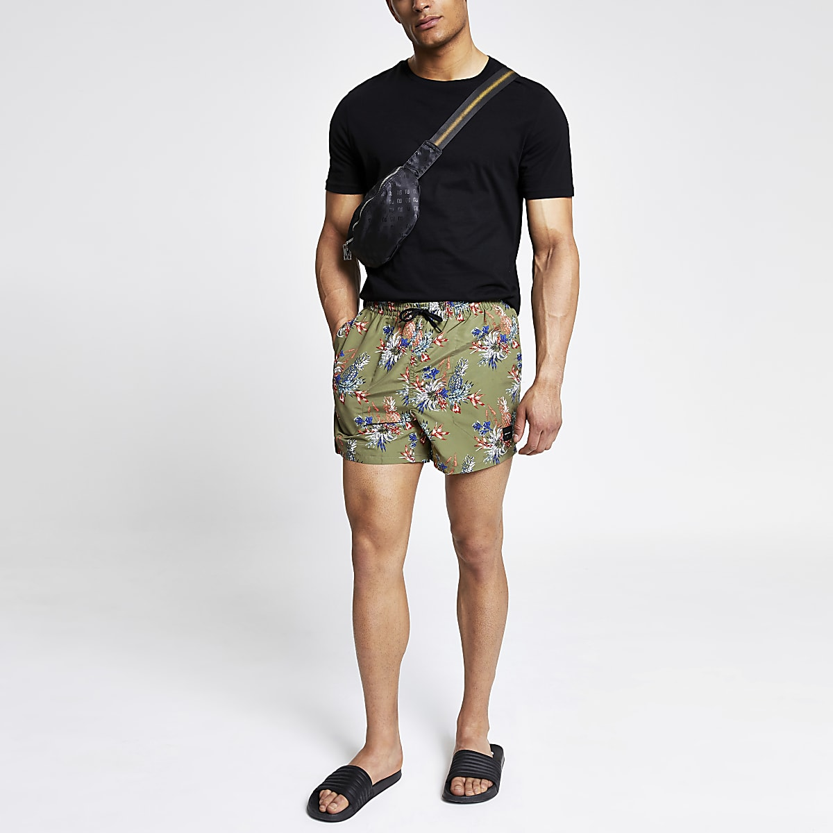 Only & Sons green tropical print swim trunks
