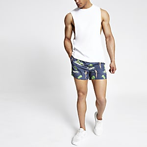 Only & Sons navy Hawaiian print swim shorts
