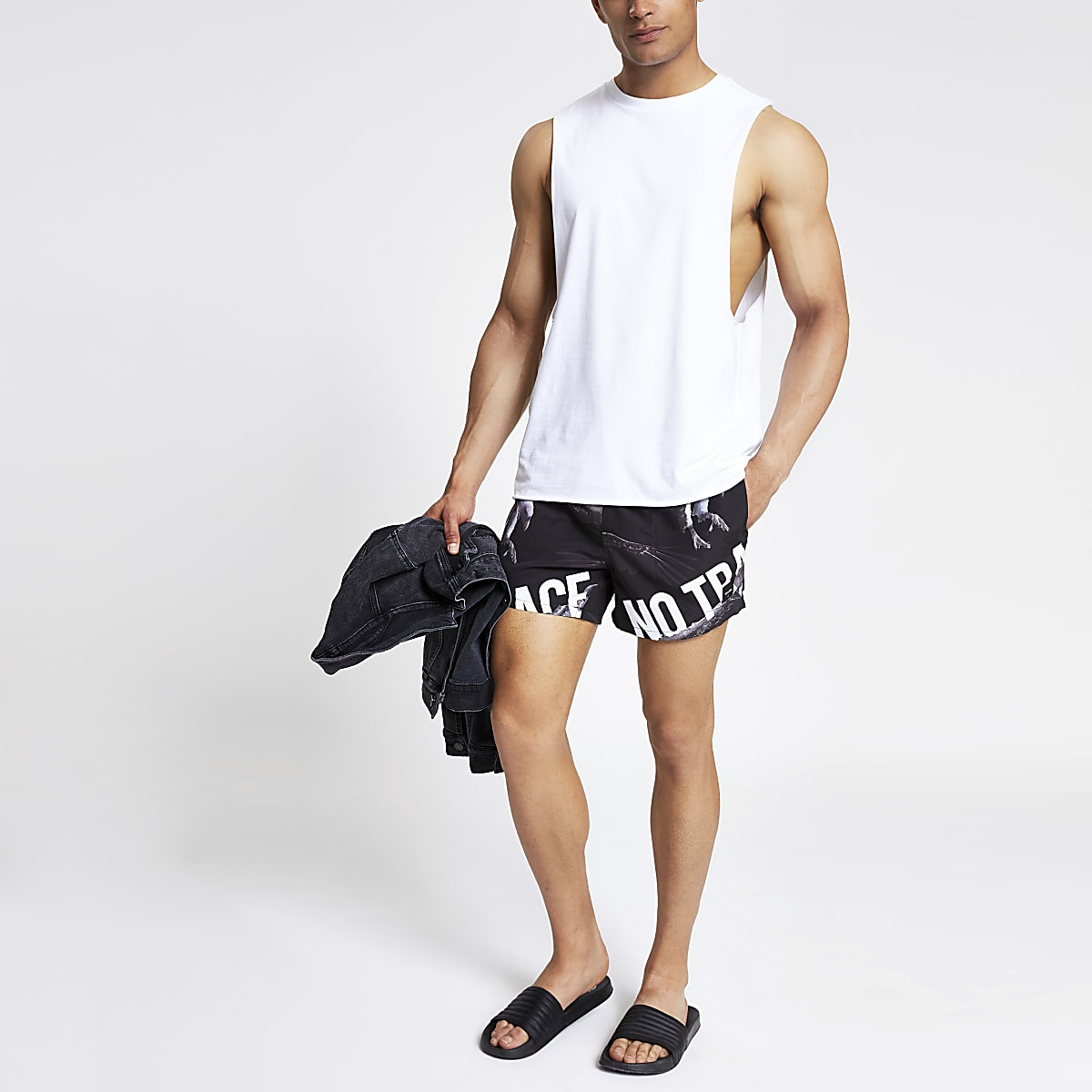 Only & Sons black printed swim shorts