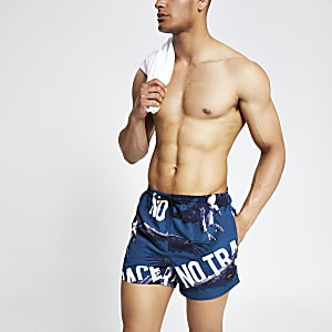 Only & Sons navy print swim shorts