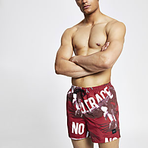 Only & Sons red printed swim shorts