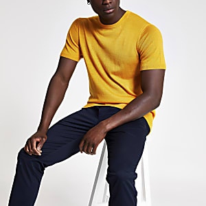 Selected Homme – Gelbes Strick-T-Shirt