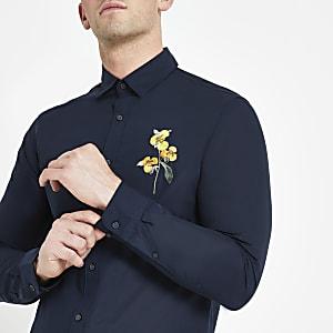 Selected Homme - Marineblauw overhemd met geborduurde bloemenprint