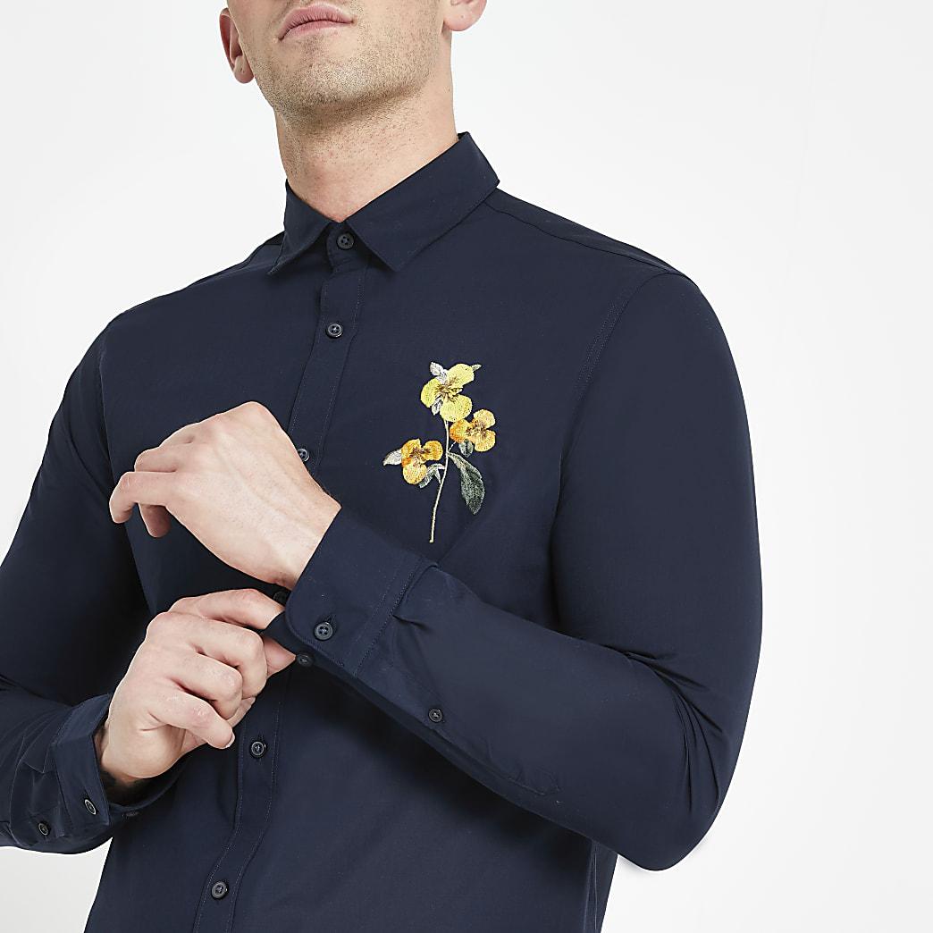 Selected Homme -Chemise classique bleu marine fleurie
