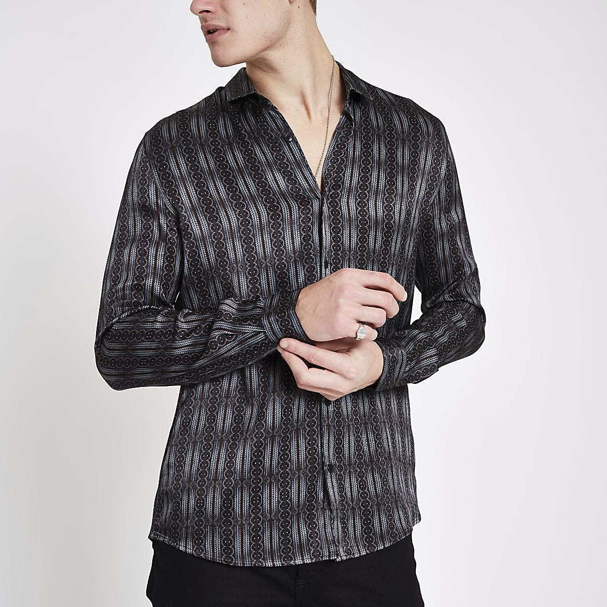 Grijs satijnen overhemd met print en lange mouwen