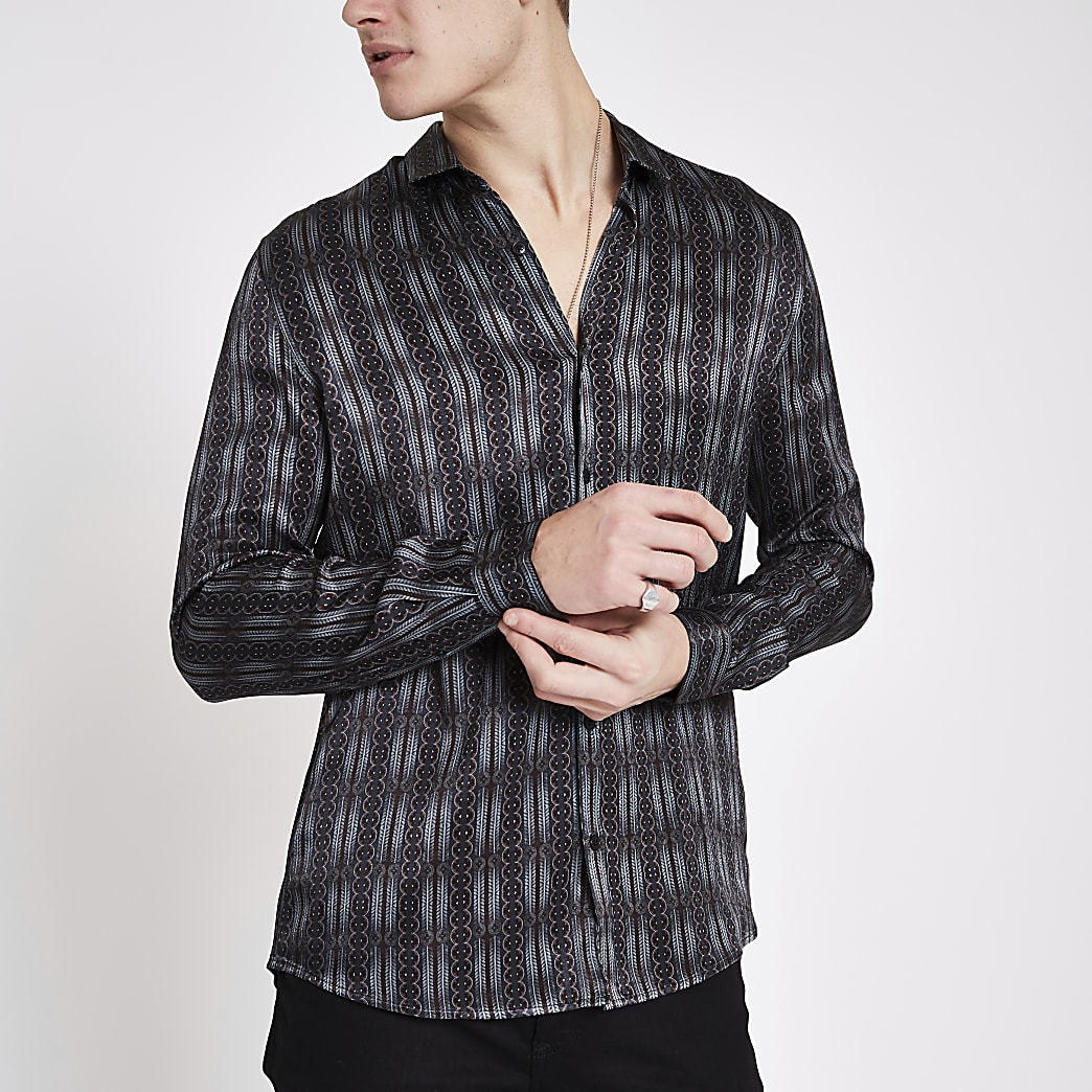 Grey satin print long sleeve shirt