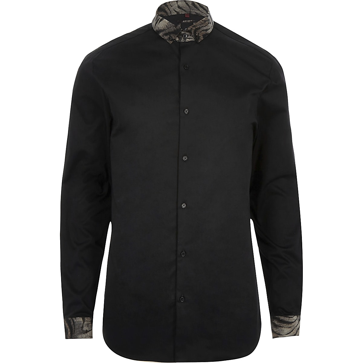 1180f7f08b50 Black leopard collar long sleeve shirt - Long Sleeve Shirts - Shirts ...