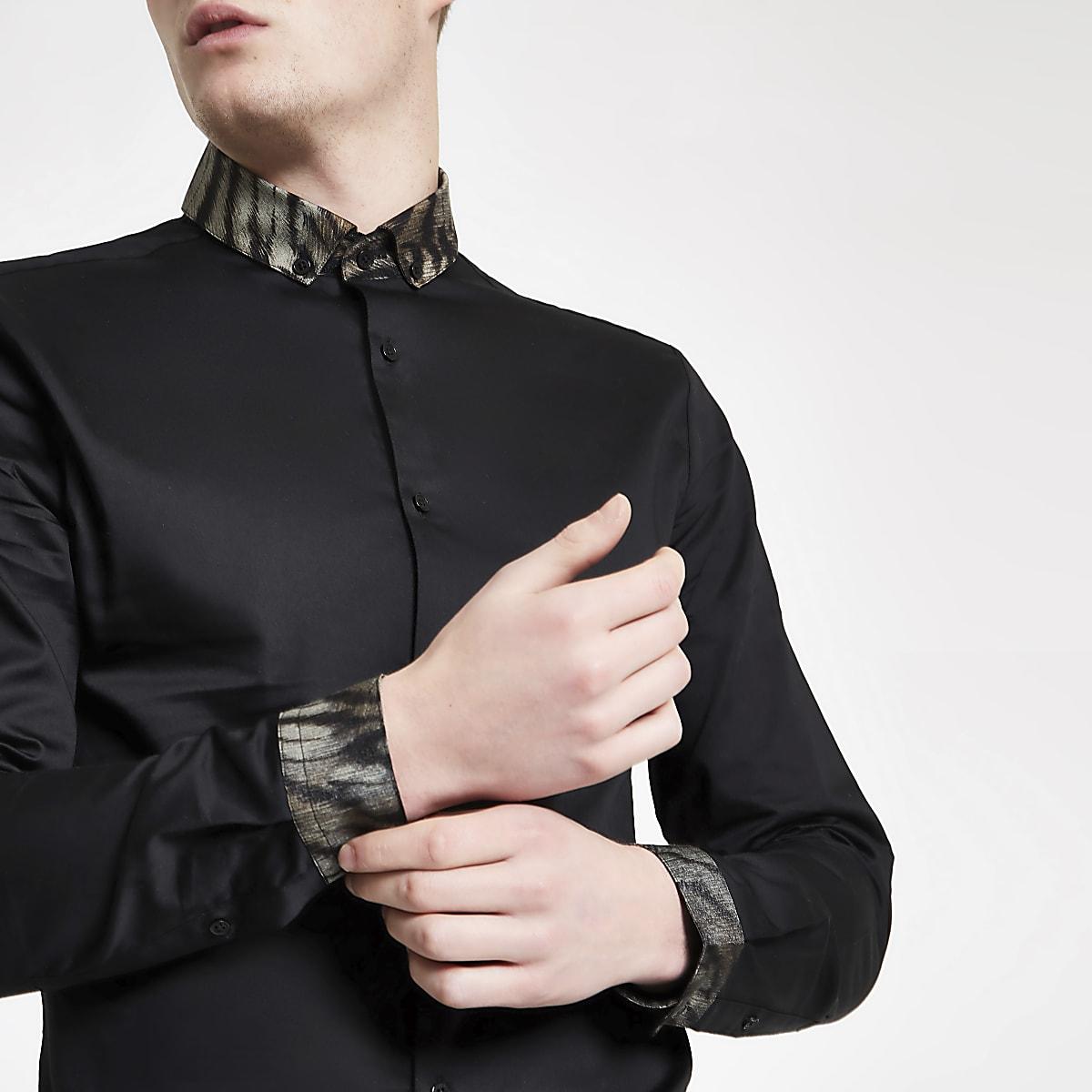 the best attitude e954b 4ba56 Black leopard collar long sleeve shirt