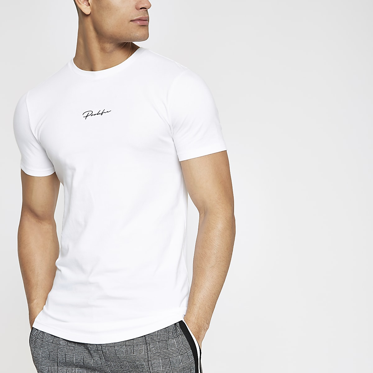 White Prolific muscle fit T-shirt