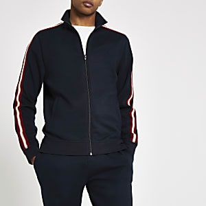 R96 navy slim fit tape track jacket