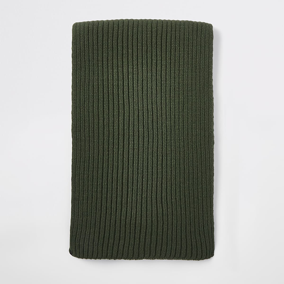 Khaki green rib knitted scarf