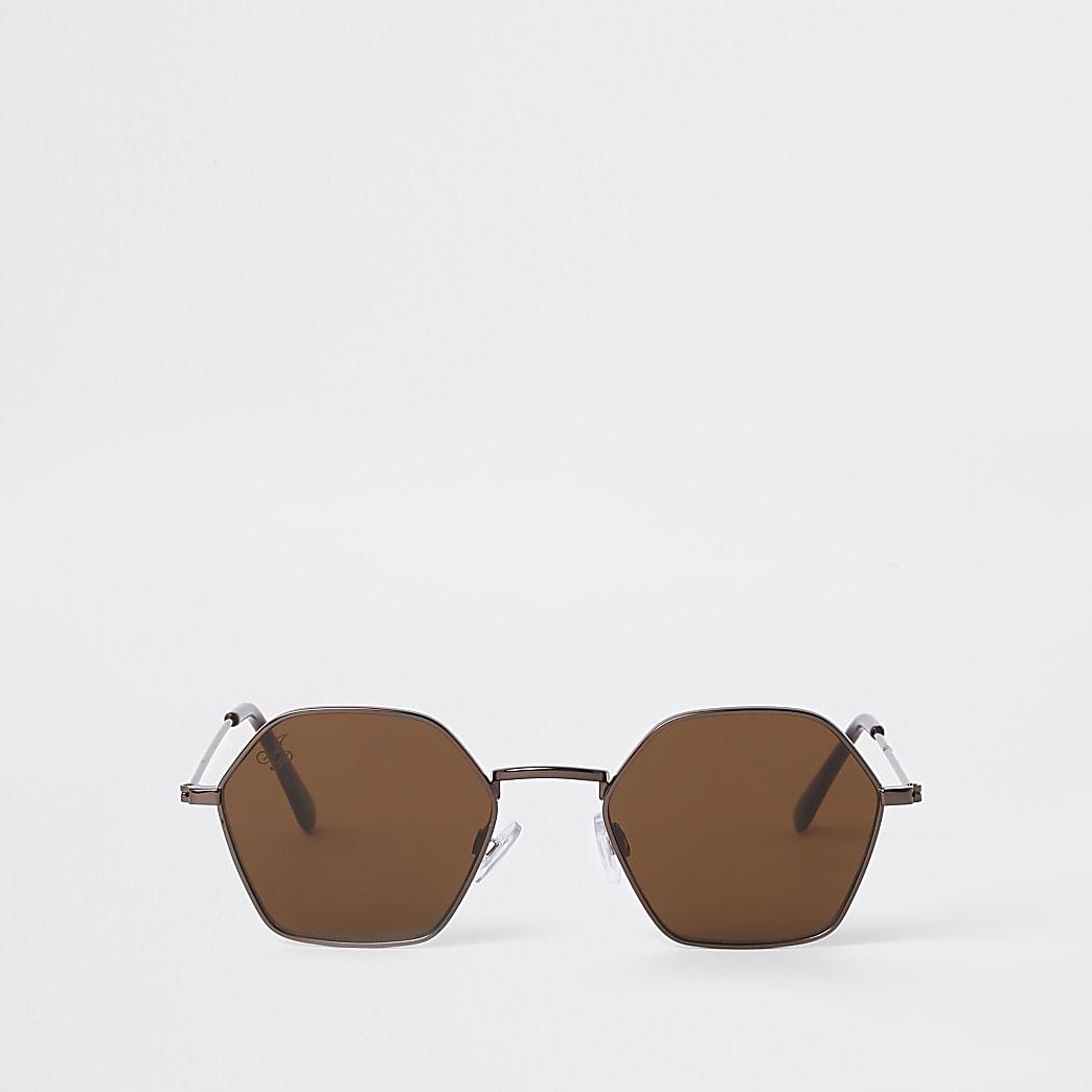 Jeepers Peepers – Lunettes de soleil hexagonales marron bronze