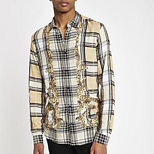 Jaded London - Beige geruit overhemd met barokprint