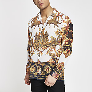 Jaded London white leopard baroque shirt