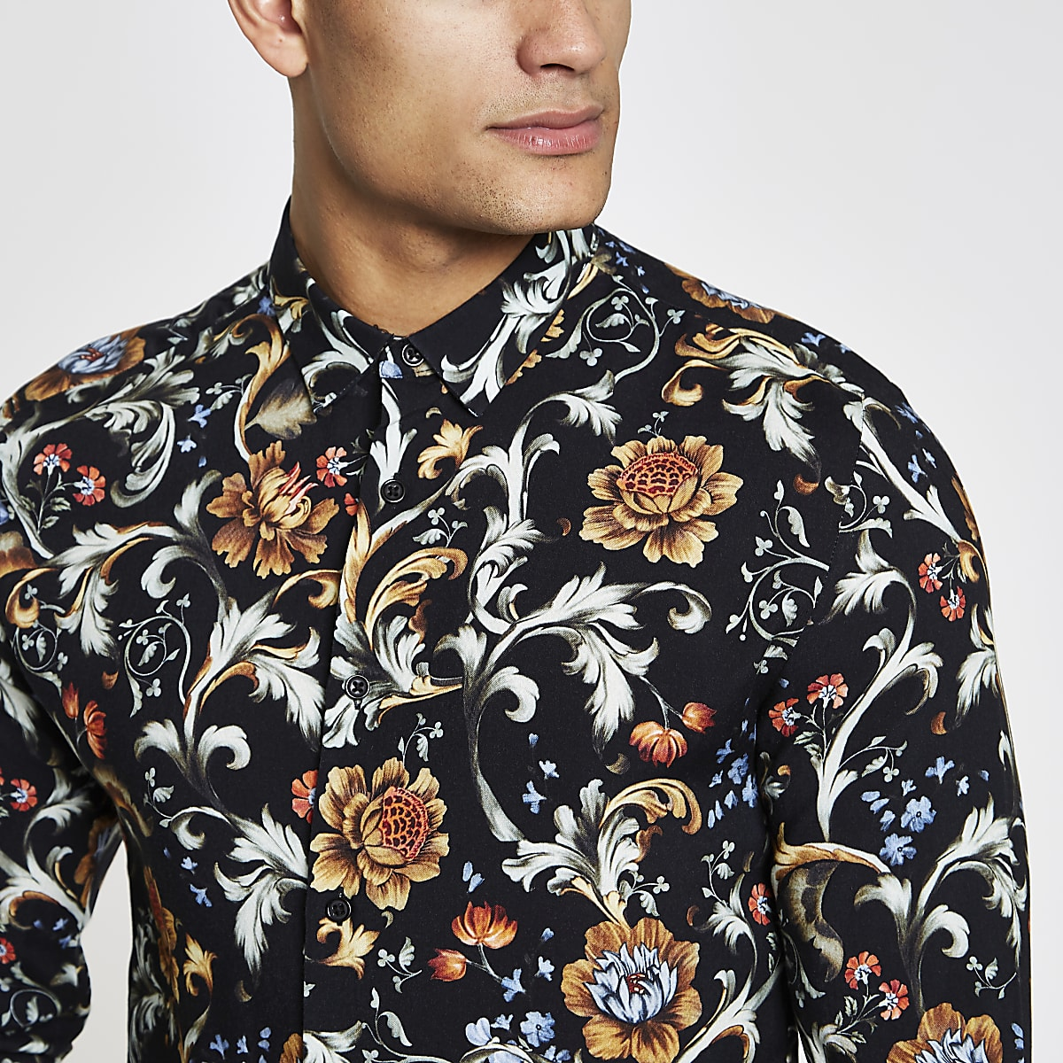 Jaded London black floral long sleeve shirt