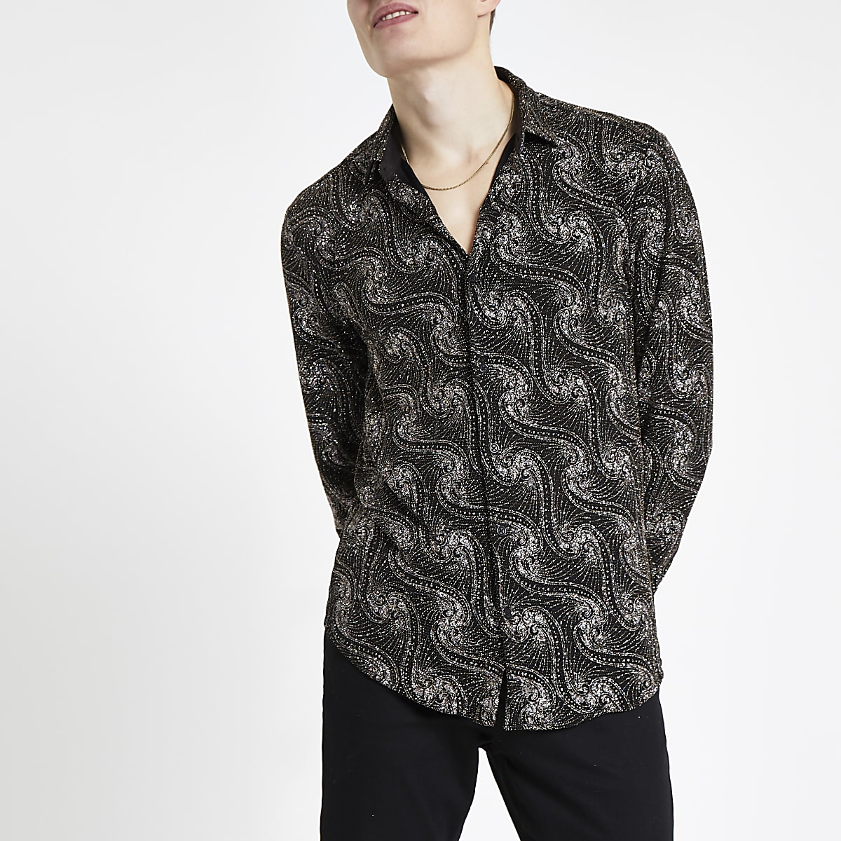 Jaded London black glitter paisley shirt