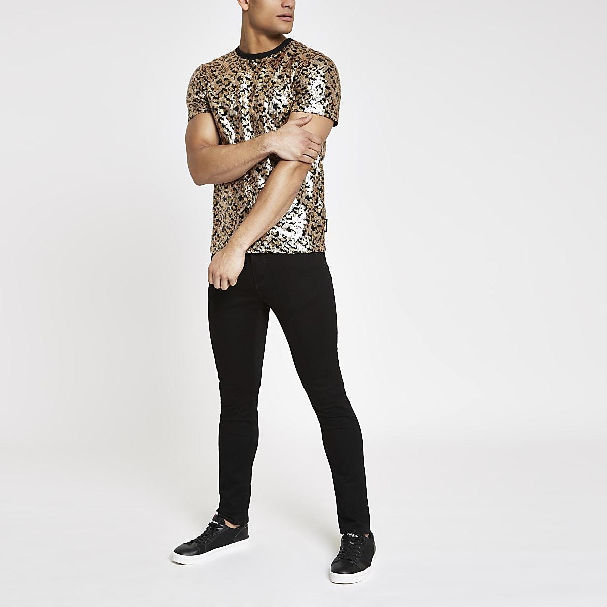 Jaded London black leopard sequin T-shirt