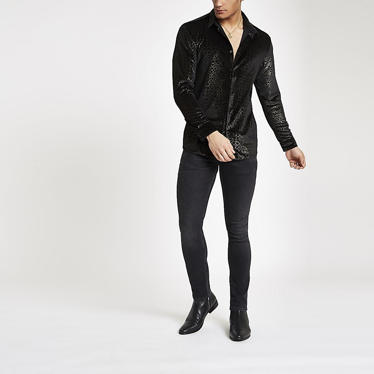 Jaded London black velvet croc shirt