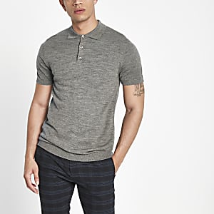 Selected Homme – Polo en maille gris