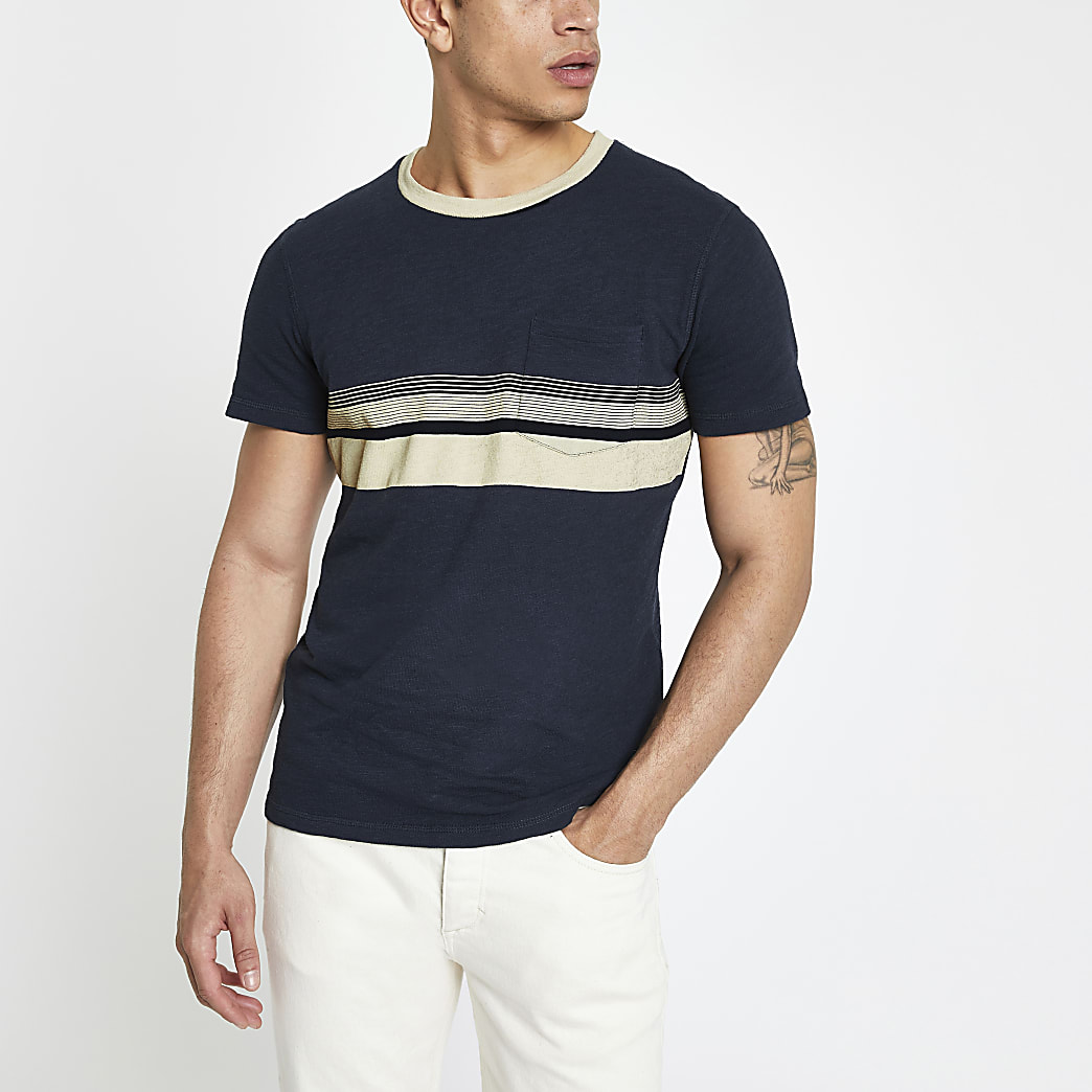 Selected Homme – T-shirt bleu marine colour block