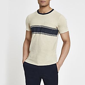 Selected Homme - Beige T-shirt met borstzak