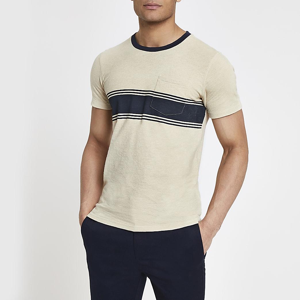 Selected Homme – T-shirt beige avec poche poitrine