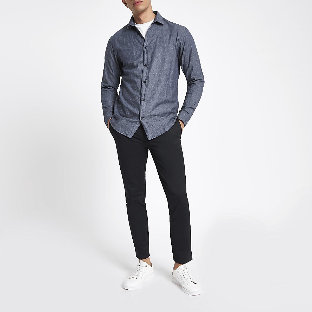 Donkerblauw Overhemd.Selected Homme Donkerblauw Overhemd Overhemden Met Lange Mouwen