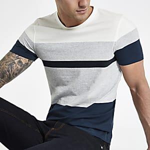 Selected Homme - Marineblauw geblokt T-shirt