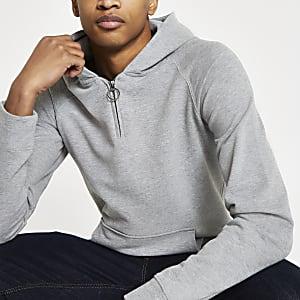 Selected Homme – Sweat à capuche en coton organique gris
