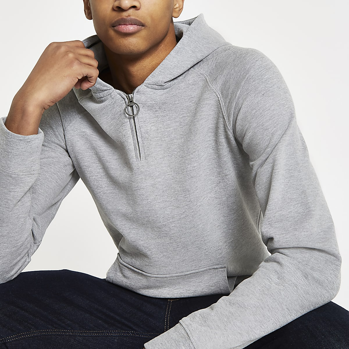 Selected Homme grey organic cotton hoodie