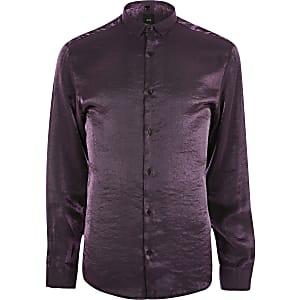 Paars metallic overhemd met lange mouwen