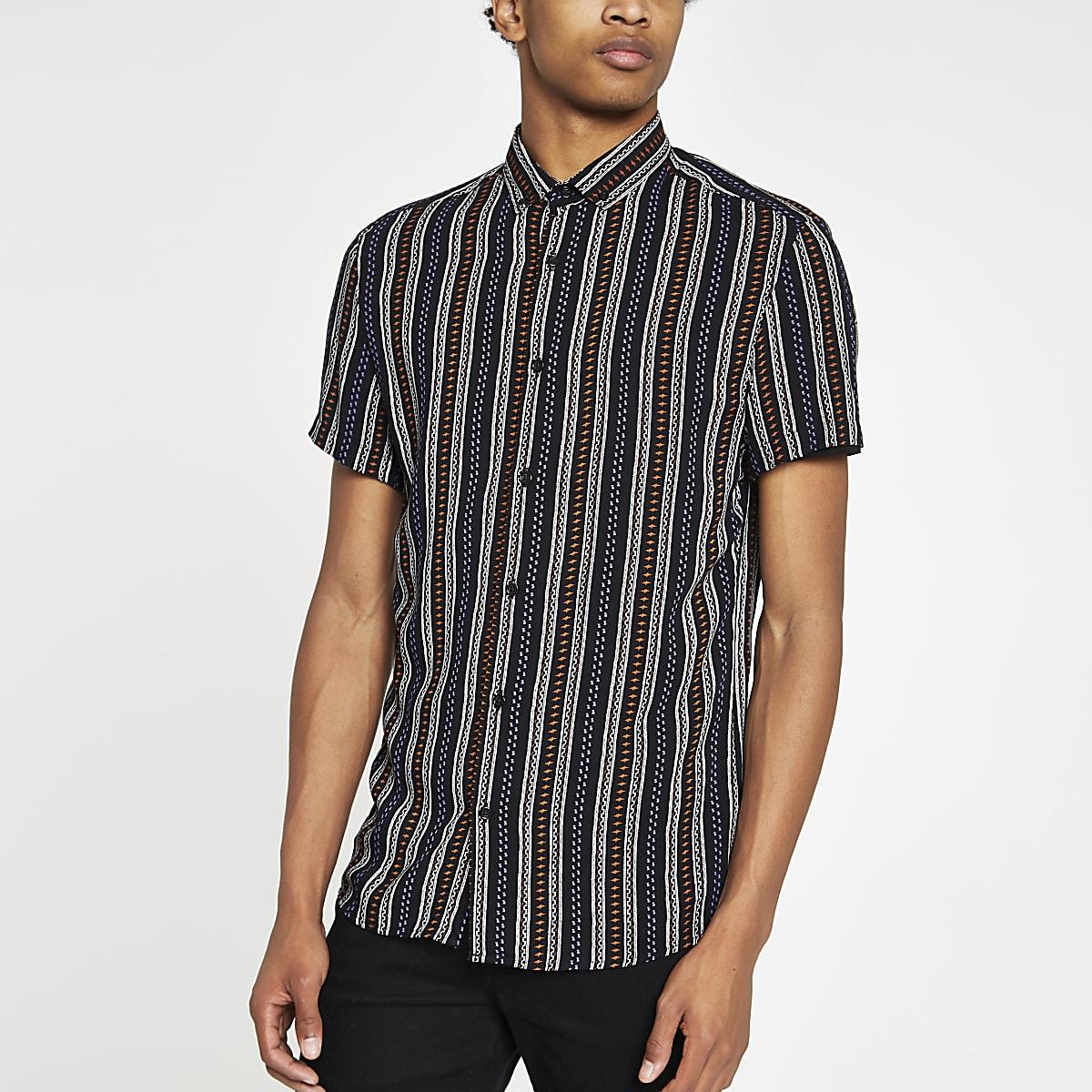 Gestreept Overhemd.Zwarte Gestreept Overhemd Met Azteken Print Overhemden Met Korte