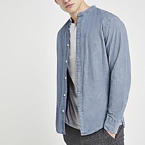 Selected Homme – Blaues Hemd mit Grandad-Kragen