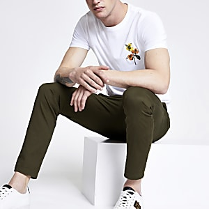 Selected Homme – Weißes T-Shirt mit Stickerei