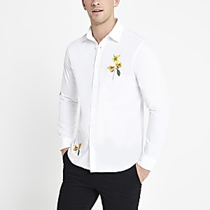 Selected Homme - Wit overhemd met geborduurde bloemen