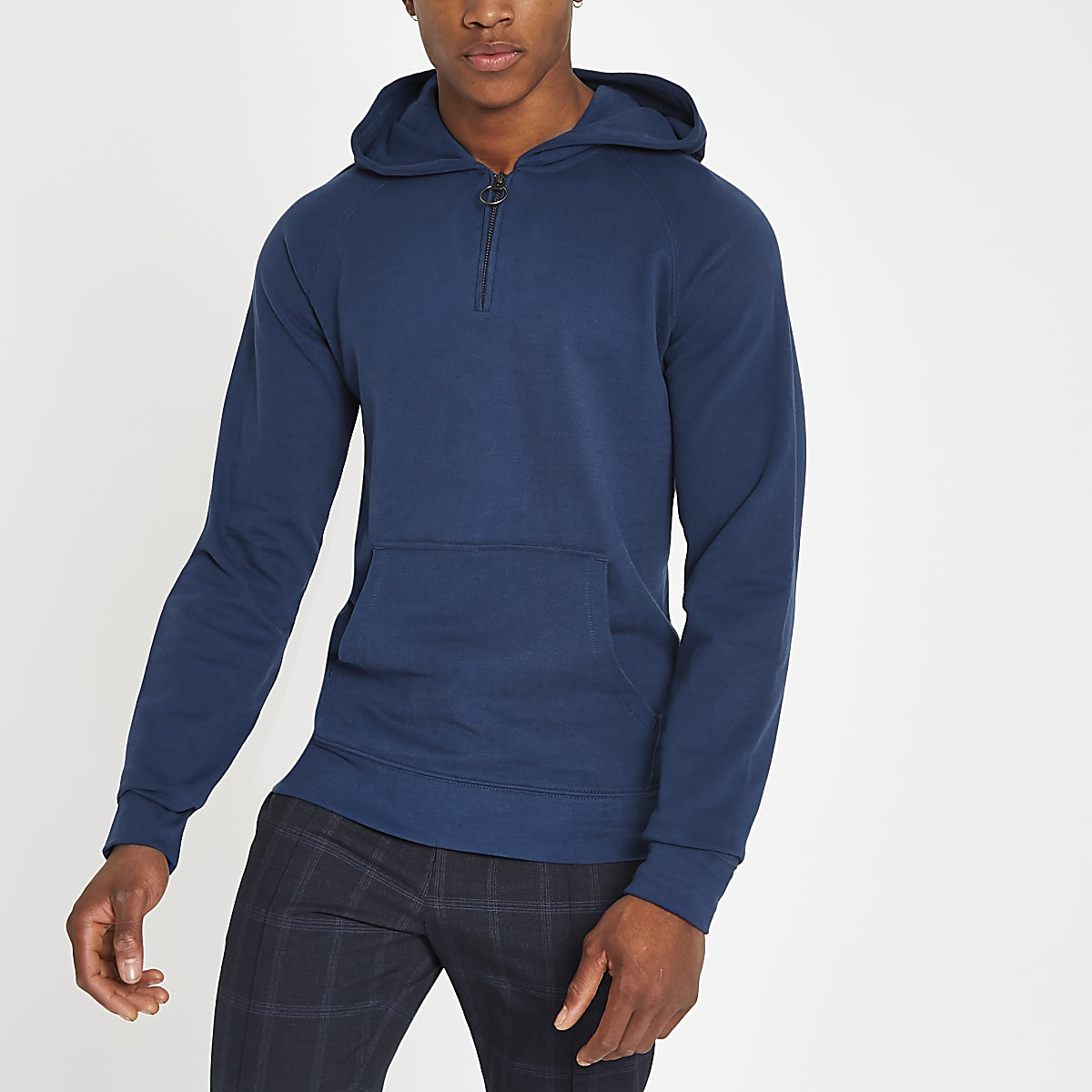 Selected Homme blue organic cotton hoodie