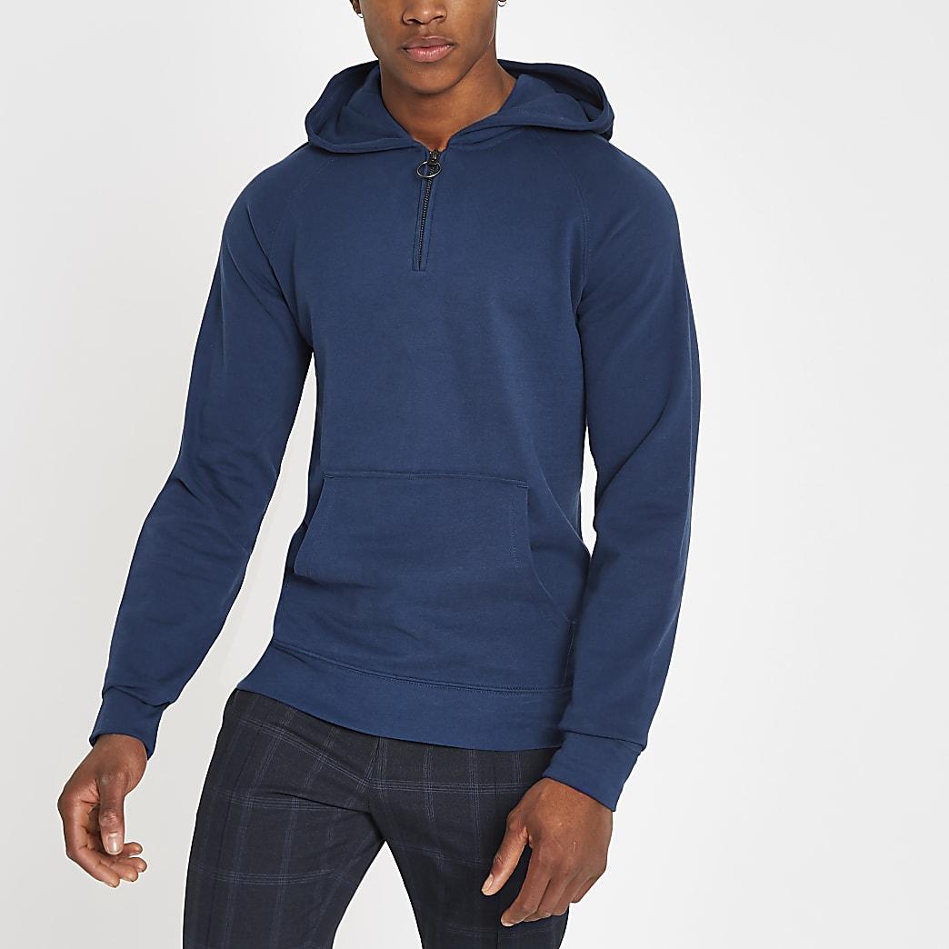 Selected Homme – Sweat à capuche en coton organique bleu