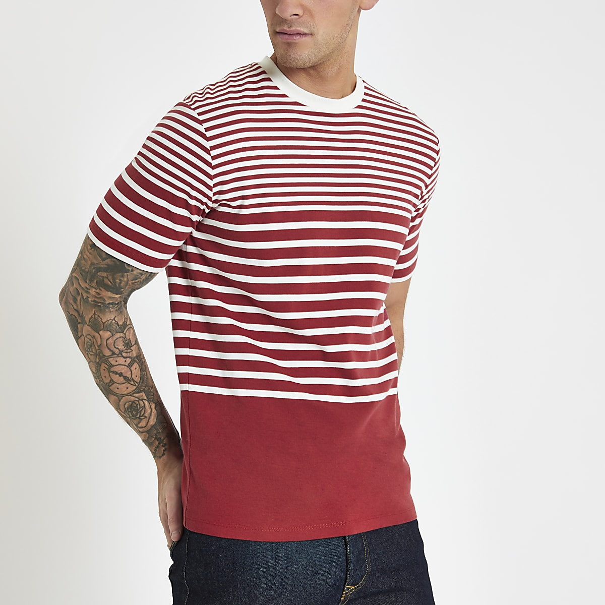Selected Homme – T-shirt rayé rouge
