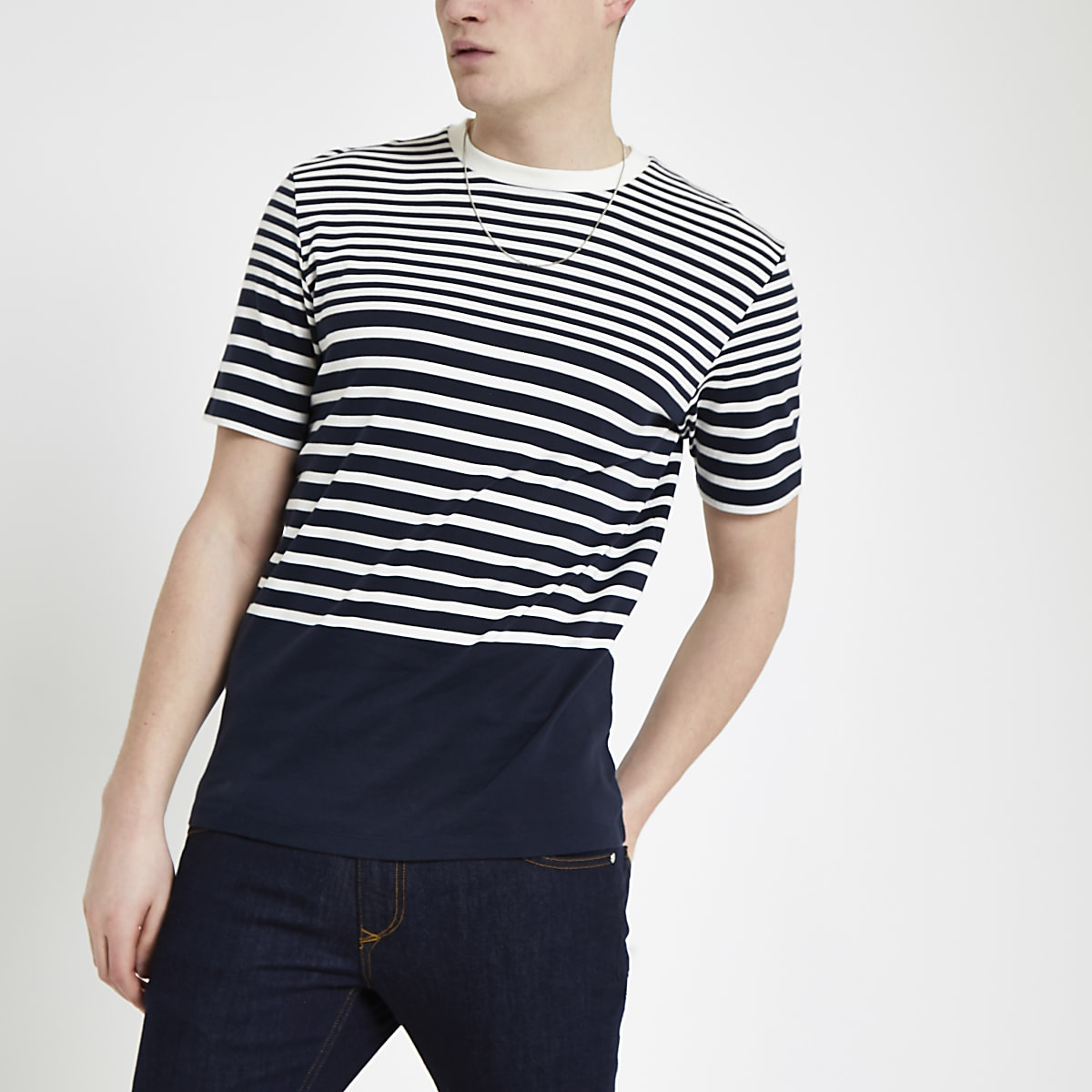 Selected Homme - Marineblauw gestreept T-shirt