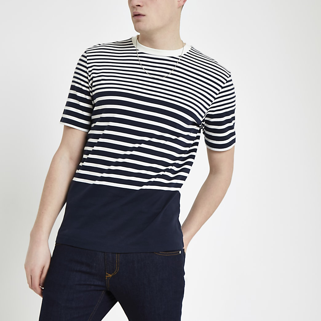 Selected Homme - Marineblauw gestreept T-shirt