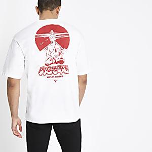 Only & Sons white Jako boxy T-shirt