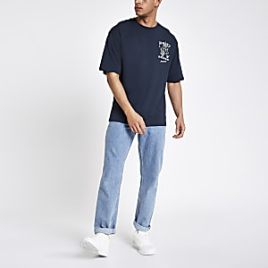 Only & Sons blue Jacko boxy T-shirt