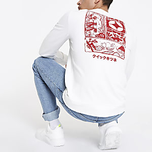 Only & Sons white printed sweatshirt